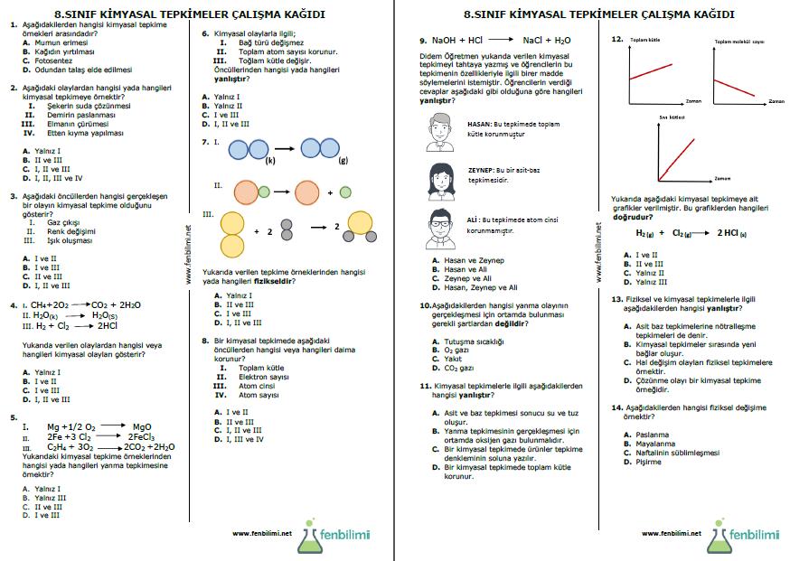 kimyasal tepkimeler çalışma kağıdı önizleme